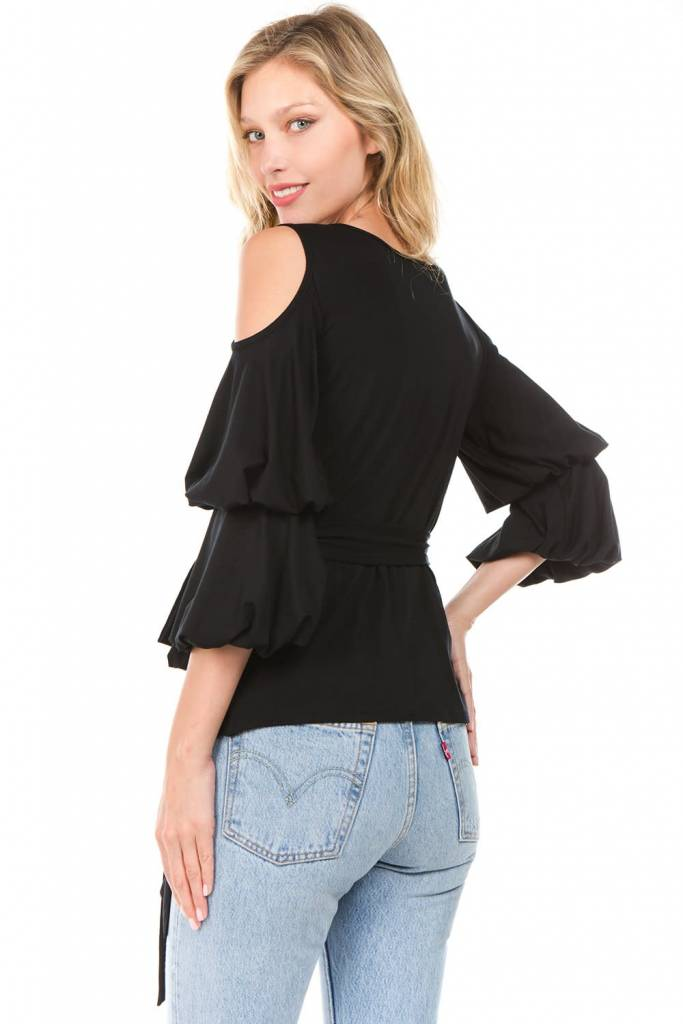 Wrap Top with Tiered Balloon Sleeves