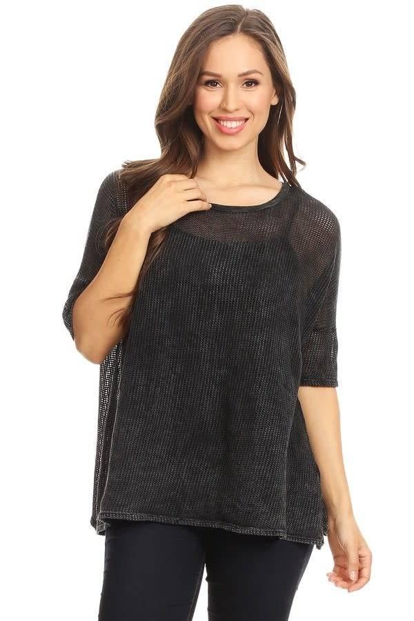 Oversized Fishnet Short Sleeve Top