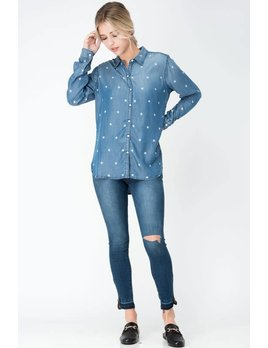 Star Denim Button Down Shirt