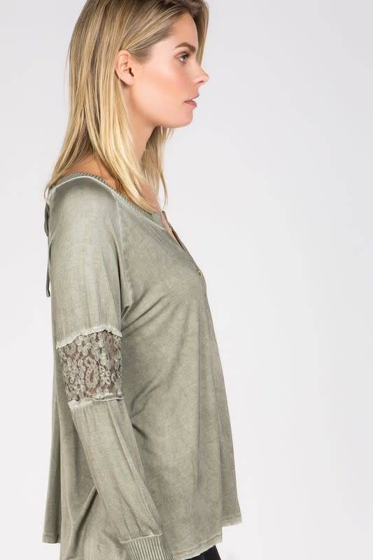 Pintuck Top with Lace Sleeve Paneling