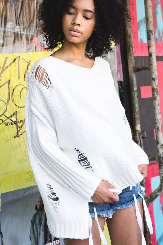 Oversized Destroyed Chenille Hoodie Sweater