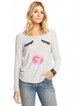 Cozy Knit Sweatshirt Lips and Lashes