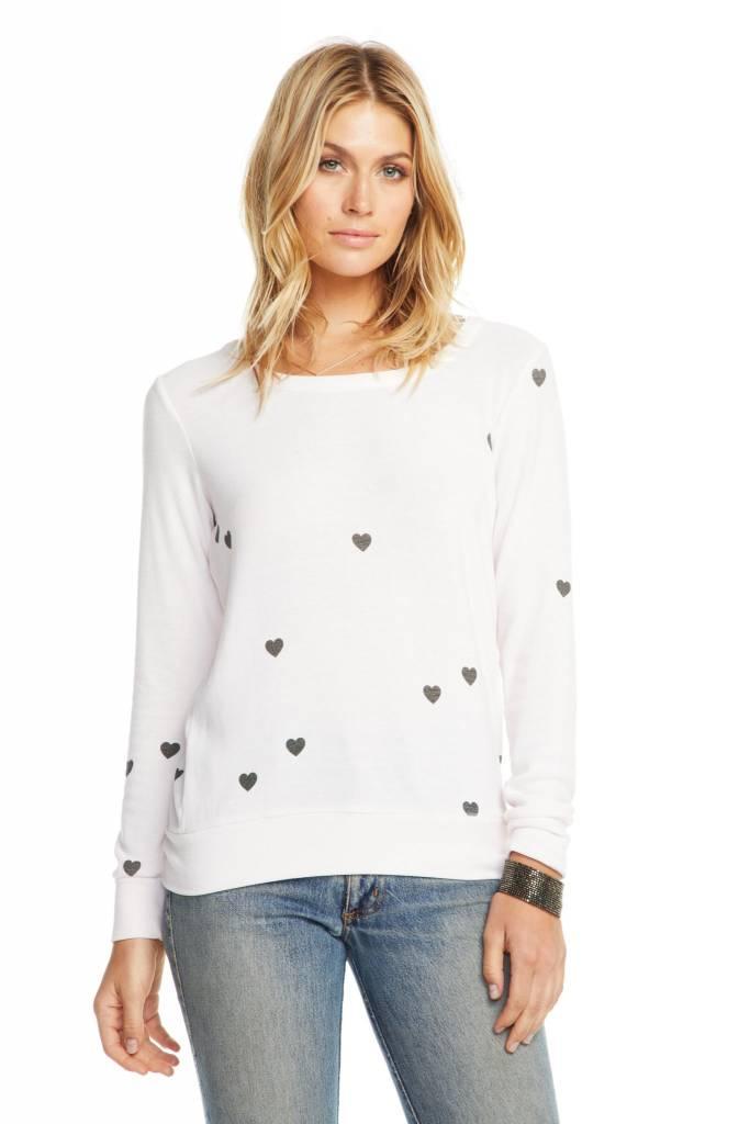 Cozy Knit Long Sleeve Tiny Heart Sweatshirt