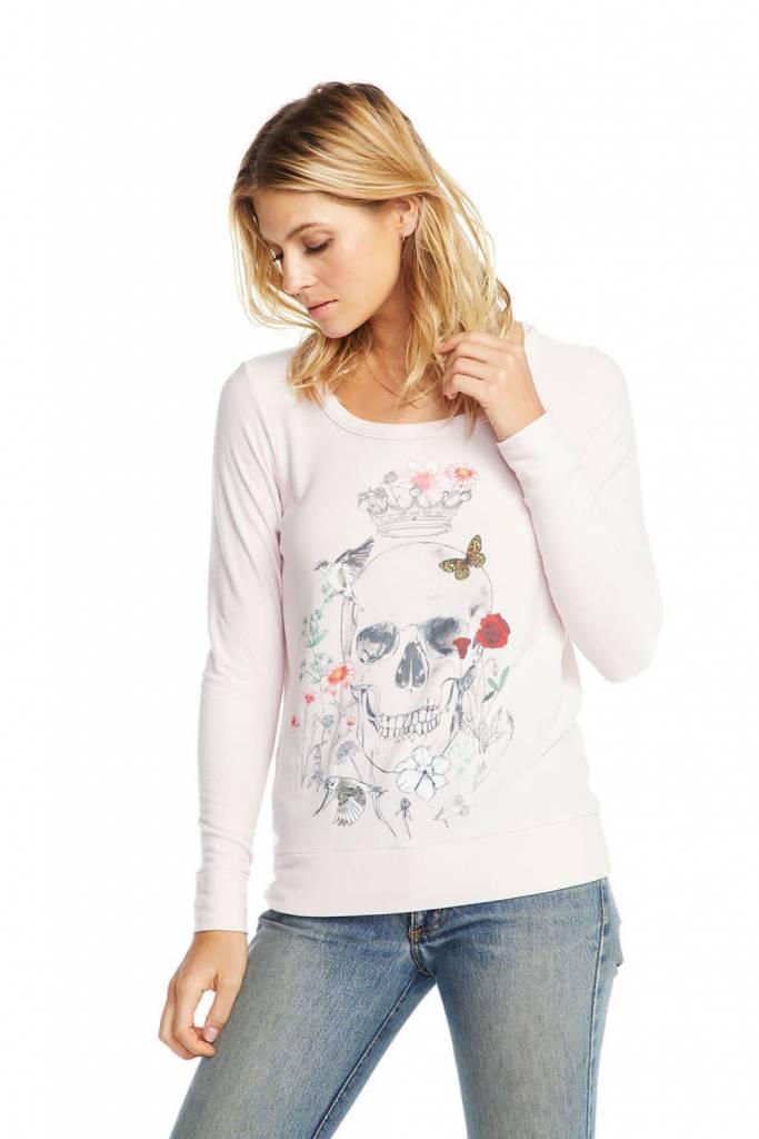 Cozy Knit Long Sleeve Sweatshirt Drawn Skull