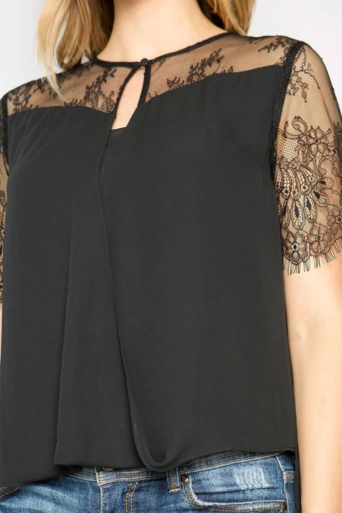 Lace Detail Overlap Blouse