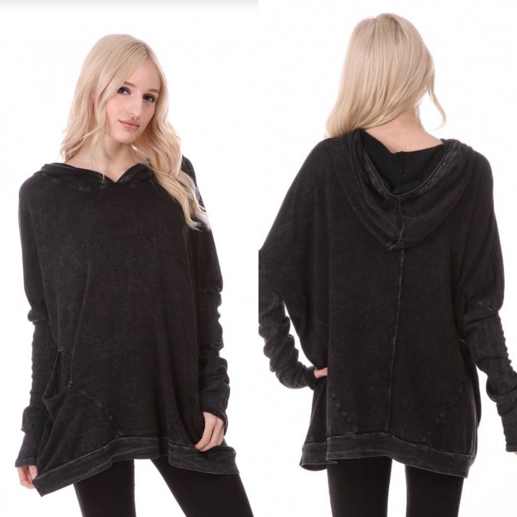 Oversize Hoodie Top with Asymmetrical Hem