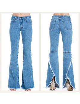 Bell Bottom Jeans With Split Back