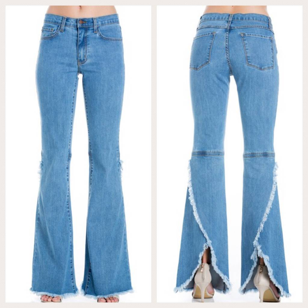 Bell Bottom Jeans With Split Back