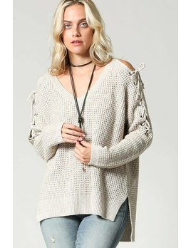 Waffle Top with Lace Up Shoulders