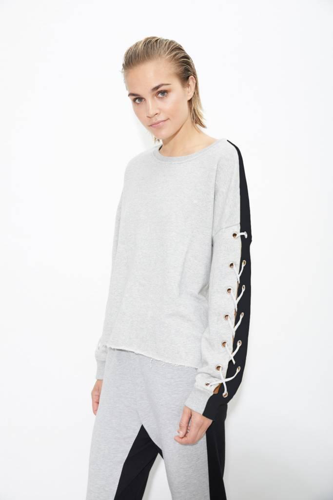 Color Block Sweatshirt W/ Lace Up Sleeve