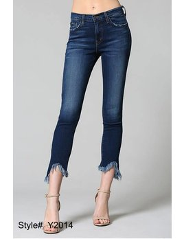 Slit Uneven Fringe Hem Skinny Jeans