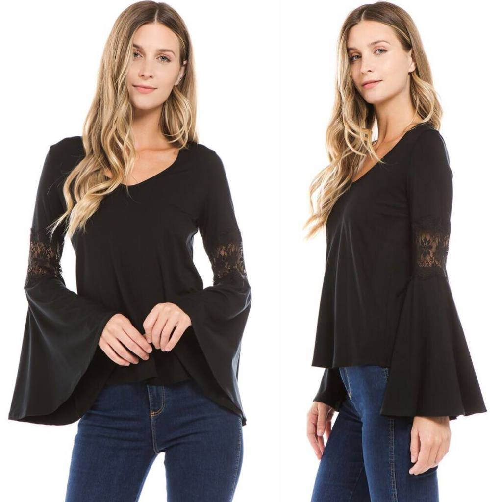 Lace Inset Bell Sleeve Top