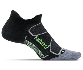 Feetures Elite Max Cushion No-Show Tab Socks Black/Reflector L