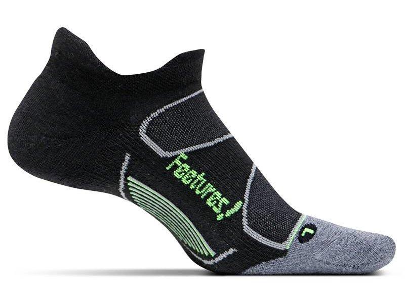Feetures Elite Max Cushion No-Show Tab Socks Black/Reflector L