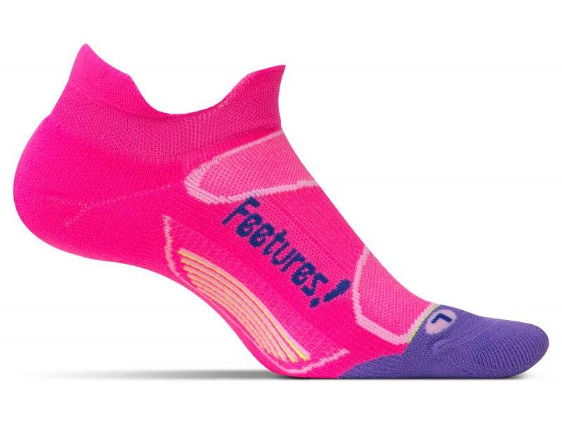 Feetures Elite Light Cushion No Show Tab Socks Pink Pop/Iris