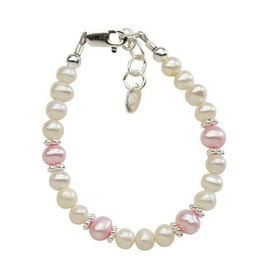 Cherished Moments Addie - Silver Bracelet w/white Swarovski and pink freshwater pearls SM