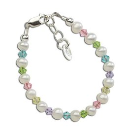 Cherished Moments Daniela - Sterling Silver Pearl Bracelet w/multi crystals (SM)