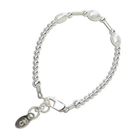 Cherished Moments Aspen - Sterling Silver Bracelet with Rice Pearl and tubes SM