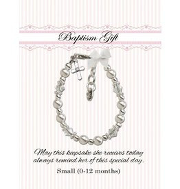Cherished Moments Christening Bracelet (White glass pearls with crystals) SM