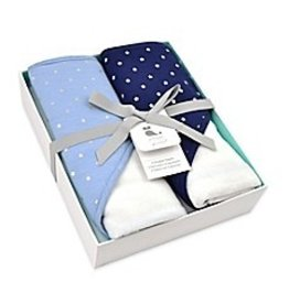 Just Born 2 Pack Hooded Towels - Blue with Silver Metallic Stars & Navy with Silver Metallic Stars