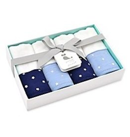 Just Born 4 Pack Washcloths - Blue with Silver Metallic Stars & Navy with Silver Metallic Stars