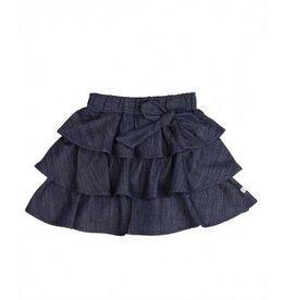 RuffleButts Ruffled Denim Bow Skirt