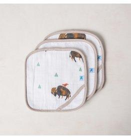 Little Unicorn Cotton Wash Cloth 3 Pack Bison