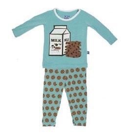 Kickee Pants Print Long Sleeve Pajama Set (Glacier Cookie)