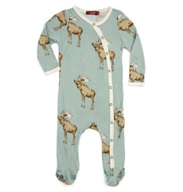 Milkbarn Kids Bamboo Footed Romper - Bow Tie Moose