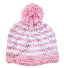 Huggalugs Pom Pom Stripe Beanie - Pink