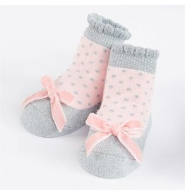 Mud Pie Silver Pink Bow Sock