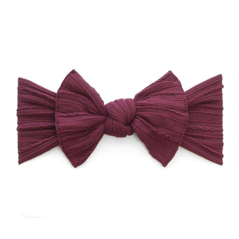 Baby Bling Bows Cable Knit Knot (Burgundy)