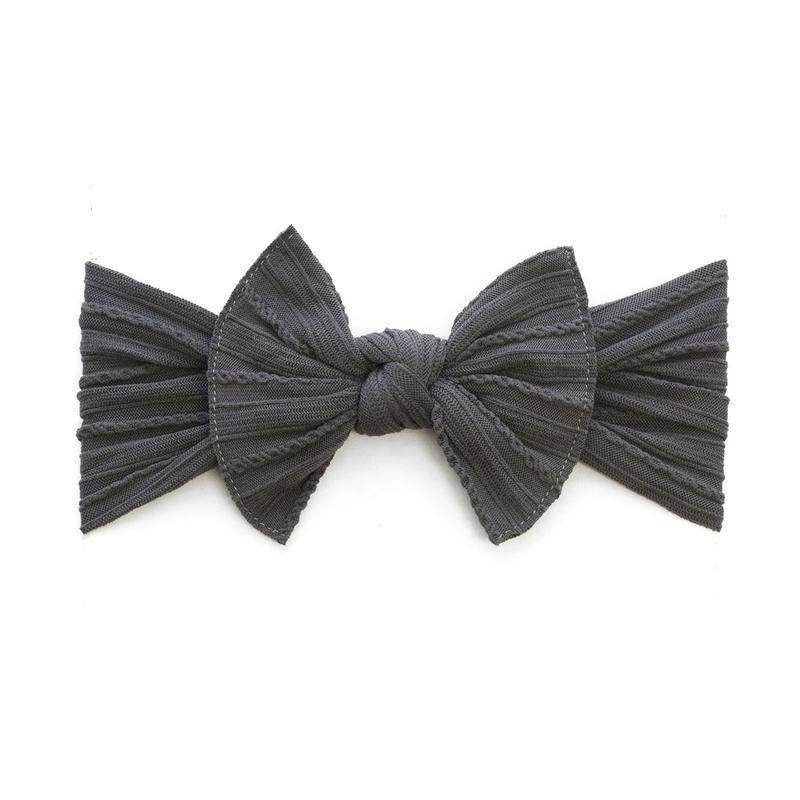 Baby Bling Bows Cable Knit Knot (Charcoal)
