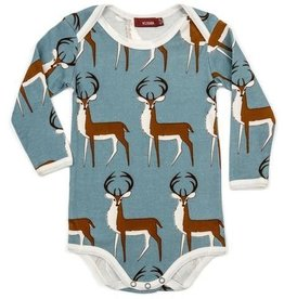Milkbarn Kids Organic Long Sleeve One Piece - Blue Buck