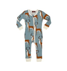 Milkbarn Kids Organic Zipper Pajama - Blue Buck