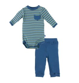 Kickee Pants Print Long Sleeve One Piece and Pant Outfit Set (Boy Anniversary Stripe)