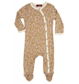 Milkbarn Kids Bamboo Footed Romper - Rose Floral