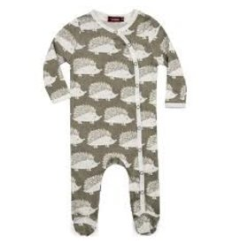 Milkbarn Kids Organic Footed Romper - Grey Hedgehog