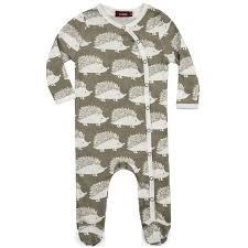 b7cb4ee129d1 Milkbarn Kids Organic Footed Romper - Grey Hedgehog - Kicks and Giggles