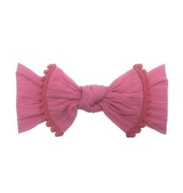 Baby Bling Bows Trimmed Classic Knot (Hot Pink Pom)