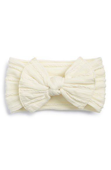 Baby Bling Bows Cable Knit Knot (Ivory)