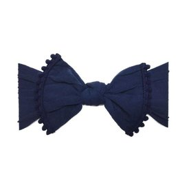 Baby Bling Bows Trimmed Classic Knot (Navy Pom)