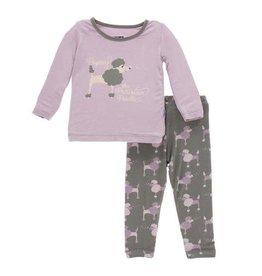 Kickee Pants Print Long Sleeve Pajama Set Cobblestone Poodle
