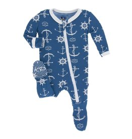 Kickee Pants Classic Layette Footie with Snaps Twilight Anchor