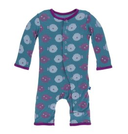 Kickee Pants Print Coverall with Snaps - Seagrass Puffer