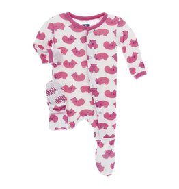 Kickee Pants Print Footie with Snaps (Natural Wombat)