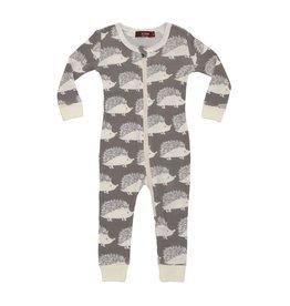 Milkbarn Kids Organic Zipper Pajama - Grey Hedgehog