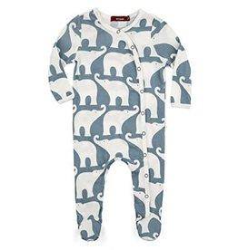 Milkbarn Kids Organic Footed Romper - Elephant Blue