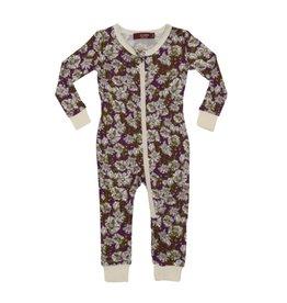 Milkbarn Kids Bamboo Zipper Pajama - Purple Floral