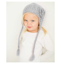 Huggalugs Grey Lacy Flowered Earflap Hat